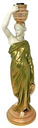 An Antique Statue Figure Royal Worcester Porcelain Lamp Maiden With Pitchers