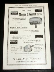 1903 Old Magazine Print Ad, Morgan And Wright, Double Tube Tires And Good Tires
