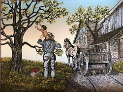 H. Hargrove Americana Painting Father And Son Picking Apples Framed And Numbered