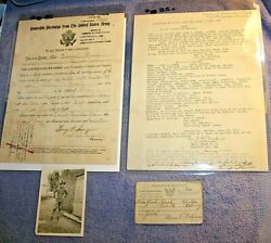 Vintage Ww1 Discharge Paper With Personal Infophoto And Card