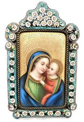 An Antique Virgin Mary And Baby Jesus Painting Plaque Micro Mosaic Frame Germany