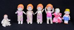 7 Antique Porcelain Dolls 3.5h Articulated Arms 1- Baby 2.5h Arms And Legs Japan