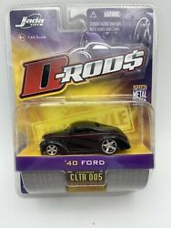 Jada D-rods 1940 Ford Black With Red Stripe 1/64 Scale 2005 Free Shipping