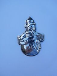 Cool 1990 Wallace Sterling Silver Snowman Christmas Ornament ⛄