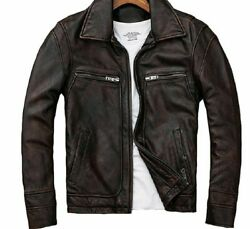 Leather Men Jacket Casual Turn-down Collar Stylish Clothing Outwear Clothes Wear