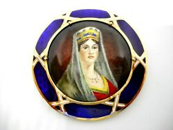 Exquisite Antique Brooch 14k Gold Hand Painted Queen Josephine Porcelain Signed
