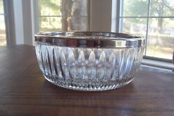 Vintage Fb Rogers Leaded Crystal Bowl With Silver Rim Made In Italy