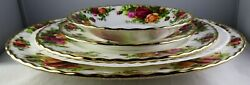 4 Pcs. Royal Albert Old Country Roses Dinner Salad Bread Plate + Saucer - Mint