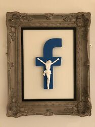 Imbue Andldquonew Religion 2.0andrdquo White/blue Framed Limited Sculpture. Banksy Of Brighton