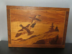 Antique Marquetry Wood Inlay Picture Of Flying Birds 22 3/4 X 15 3/4