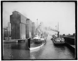 Busy Section,canal,grain Elevators,cargo Ships,freighters,buffalo,new York,1900