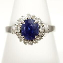 Platinum 900 Ring 11.5 Size Sapphire 2.01 Diamond About5.1g Free Shipping Used