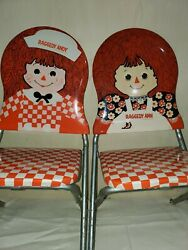 Vintage Raggedy Ann And Raggedy Andy Doll Folding Chairs Set Of 2