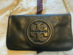 New without Tags Tory Burch Bombe Clutch Black Leather Chain Purse $103.00