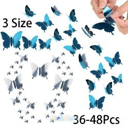 48pcs 3D Mirror Butterfly Wall Stickers Decal Wall Art Removable Room Party Home
