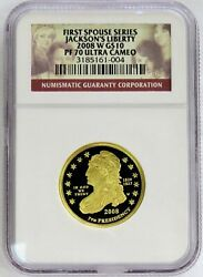 2008 W Gold 10 Jacksons Liberty 7684 Minted 1/2 Oz Spouse Coin Ngc Proof 70 Uc