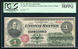 Fr. 16c 1862 1 Legal Tender United States Note Pcgs About Uncirculated-58ppq