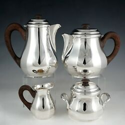 Art Deco French Sterling Silver 4pc Tea And Coffee Set, Teapot And Coffee Pot