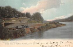 Norwich Connecticut View of Harbor Wall Steam Coal Train on Incline Curve 1905