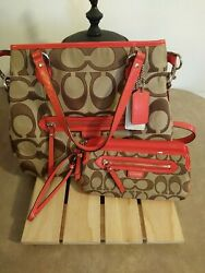 Crossbody Coach Purse Fall Orange with small Knicks good shape. Wallet to match. $50.00