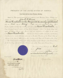 Woodrow Wilson - Naval Appointment Signed 06/02/1915 With Co-signers