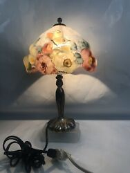 Genuine Antique Pairpoint Puffy Shade With Butterfly Table Lamp