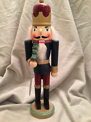 Nutcracker Wooden Christmas Soldier Guard Sword Holiday Decoration 12 Nut