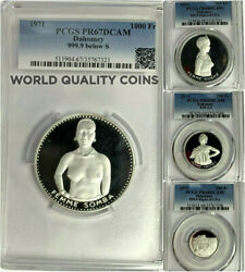 1971 Dahomey Silver Set 4 Coins Pcgs Pf67-69 10th Independence Naked Woman