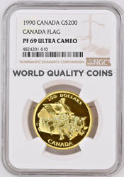 1990 Canada Gold Proof Coin 200 Silver Jubilee Of The Canadian Flag Ngc Pf69