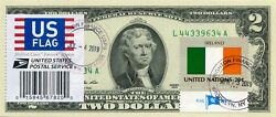 2 Dollars 2013 Stamp Cancel Postal Flag From Ireland Lucky Money Value 150