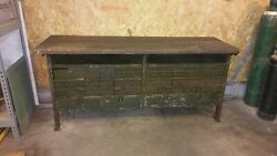 Vintage Antique Industrial Wood Workbench Steel Drawers Work Bench Free Shipping