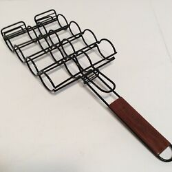 Williams Sonoma Bbq Grilling Basket Rack For Sausage Brats Hot Dogs New