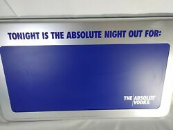 Absolut Vodka Sign Tonight Is The Absolute Night Out For Rare Blue Chalkboard