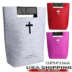 Bible Cover Tote Bag for Women Girls Carved Cross Holy Bible Bag Felt Tote Case $10.69