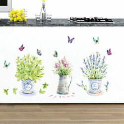Wall Kitchen Window Glass Bathroom Stickers Potted Butterfly Decals Waterproof