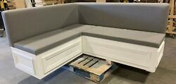 Corner Bench L Shape Fabric Upholstered With Wooden Storage Base. Custom Made