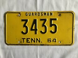 1964 Tennessee Guardsman National Guard License Plate Tag