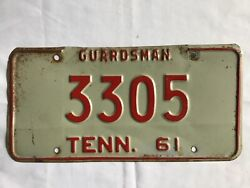 1961 Tennessee National Guard License Plate Tag Guardsman