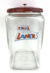"""Vintage """"FROM THE HOUSE OF LANCE"""" Cookie Cracker Jar W Lid•Store Display•13"""""""