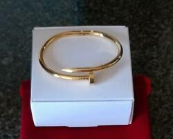 Perfect Dainty And Beautiful Nail Bangle 7.5 Bracelet In 18k Yellow Gold Over