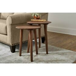 Set Of 2 Rustic Wood Nesting Accent End Side Tables Rounded Oval Mid-century Mod