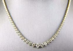 16.2ct Graduated Riviera Diamond Cluster Lady's Tennis 18k Yellow Over Necklace