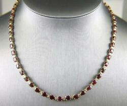 35.23ct Oval Ruby And Diamond Link Lady's Tennis 16 Necklace 18k Yellow Gold Over