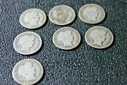 Lot Of 13 Barber Dimes 1906-1914 90 Silver