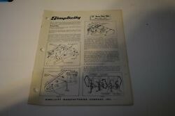 Simplicity Tractor 32 Heavy Duty Tiller Assembly Manual Mfrs. No. 392