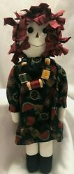 Raggedy Ann Style Doll Primitive Handmade Stuffed Sewing Necklace 17 Vintage