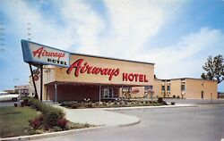 Buffalo New Yorkairways Hotel By Airport1950s Cars1957 Postcard
