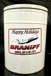 Vintage Braniff Airlines Happy Holidays Popcorn Tin, Travel Agency Gift