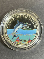 2000 Republic Of Palau 5 Silver Colorized Coin Marine Life Protection Marlin