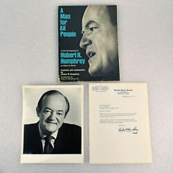 Hubert Humphrey Former Vice President And Senator Autograph Book And Letter 1974